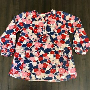 Mini Boden Girls Red Blue Floral Tunic Shirt 5-6Y